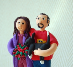 Cake topper couple lounge and dog in pajamas and robe