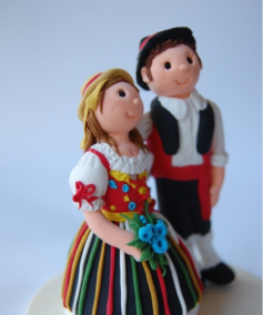 Cake topper couple traditional canary islands folk costume